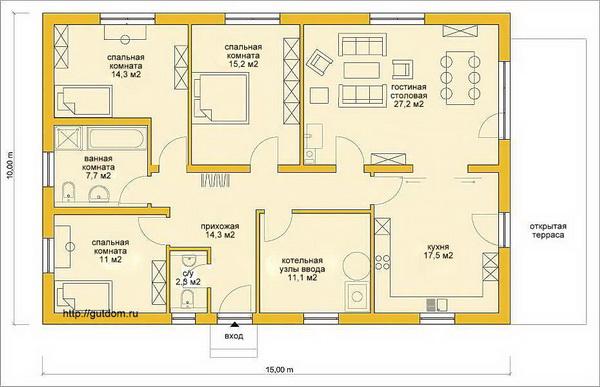Изучаем проекты одноэтажных частных домов из газобетона 3