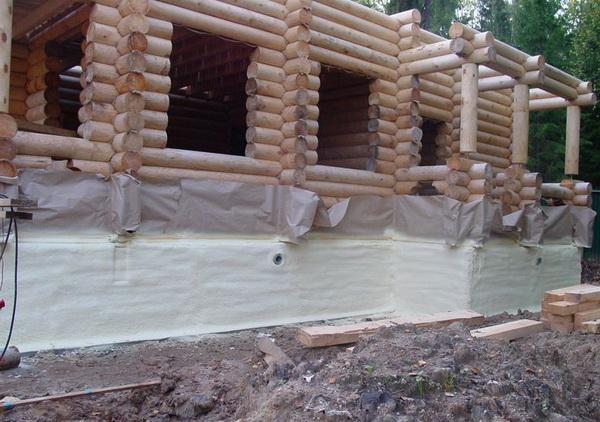 Утепление фундамента деревянного дома снаружи экструдированным пенополистиролом 5